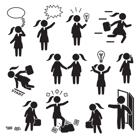 Businesswoman and woman working in business icon set. Vector. Çizim