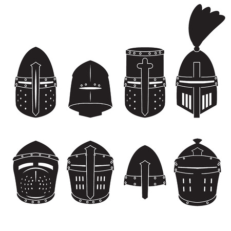 Knights helmet vector set. Helmet icons. Vector. Ilustração