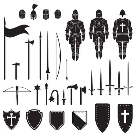 Warriors series - knights equipment, weapons and armor. Vector. Banco de Imagens - 98729516