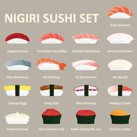 Nigiri sushi icon set. Japanese cuisine. Vector. Ilustração