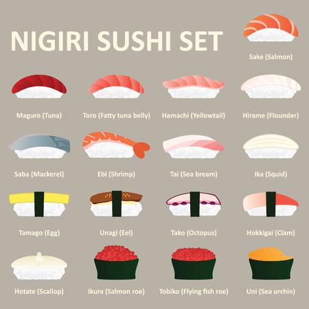 Nigiri sushi icon set. Japanese cuisine. Vector. Illustration