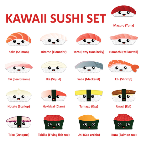 Kawaii sushi icon set. Vector.