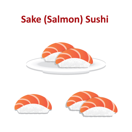 Nigiri sushi salmon icon set. Vector.
