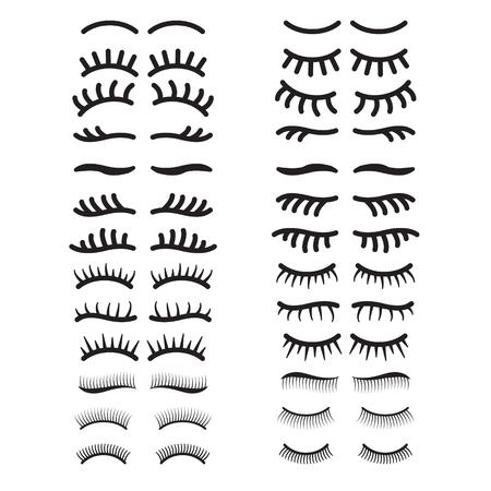Eyelashes icon set. Open and closed eyes eyelashes set. Vector.