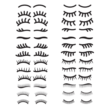 Eyelashes icon set. Open and closed eyes eyelashes set. Vector.