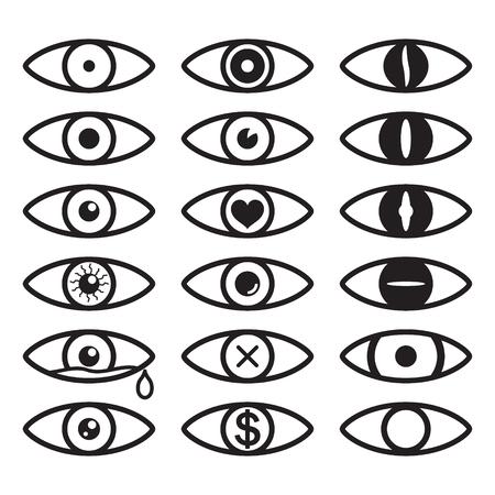 Eye icon set. Set of vector eyes. Vector.