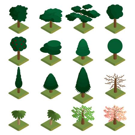 Isometric trees vector set. Isometric trees icon set. Banco de Imagens - 99075118