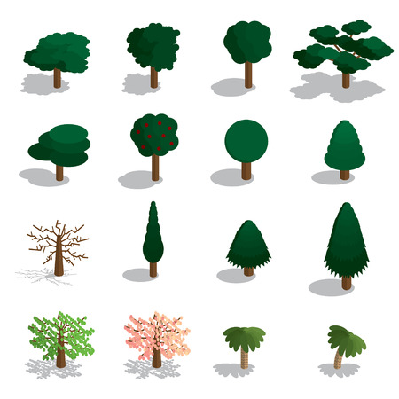 Isometric trees vector set. Isometric trees icon set.