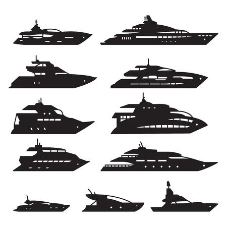 Set di icone di yacht.