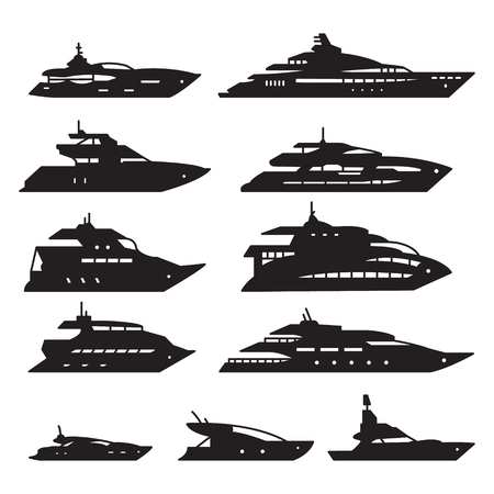 Yacht icon set.