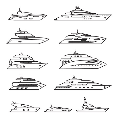 Yacht line icon set.