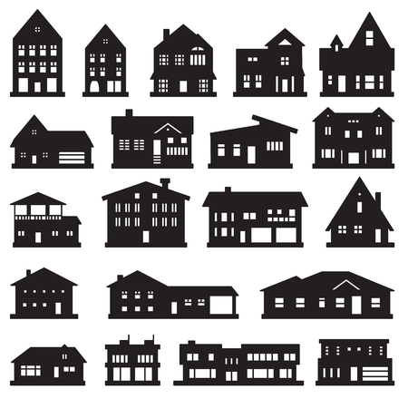 Buildings, home and house icon set. Vector icons.