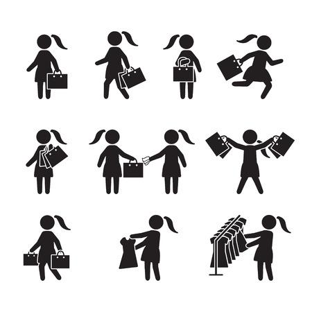 Donna con borse della spesa e shopping icon set. Icone vettoriali.