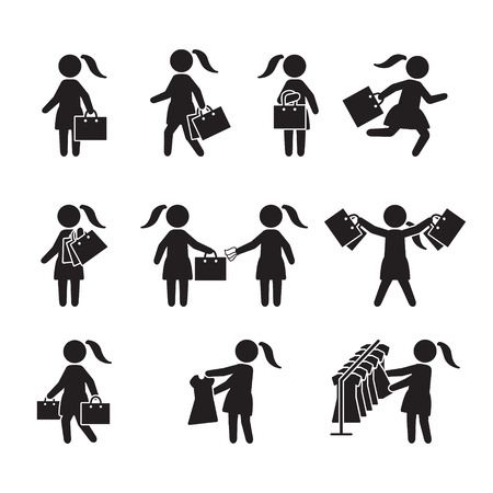 Woman with shopping bags and shopping icon set. Vector icons.