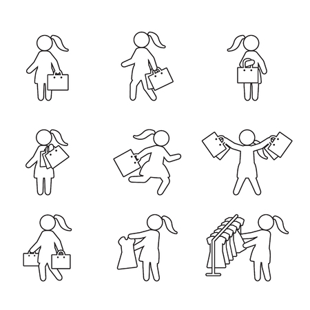 Woman with shopping bags and shopping thin line icon set. Vector icons.
