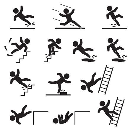 Insieme dell'icona di persone che cadono o scivolano. Vettore.
