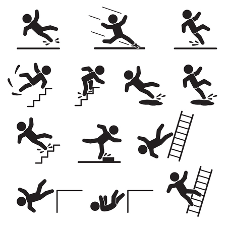 People falling or slipping icon set. Vector.