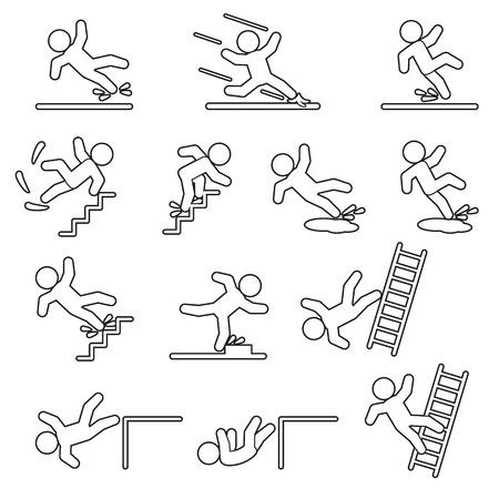 Set di icone di linea sottile di persone che cadono o scivolano. Vettore. Vettoriali