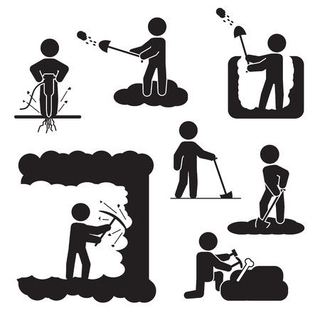 Mensen graven, graven of boren icon set. Vector iconen.