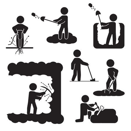 People digging, excavating or drilling icon set. Vector icons.