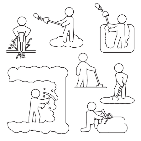 People digging, excavating or drilling thin line icon set. Vector outline icons. Illustration