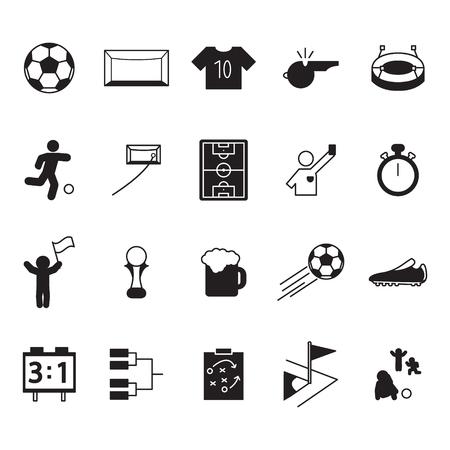 Conjunto de iconos de fútbol o fútbol. Conjunto de iconos de vector.
