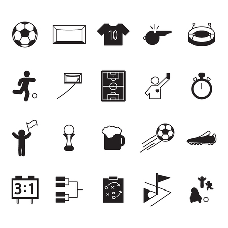Soccer or football icon set. Vector icons set.