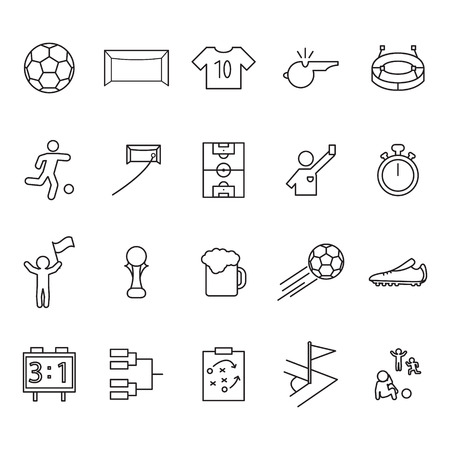 Soccer or football thin line icon set. Outline vector icons set. Ilustracja
