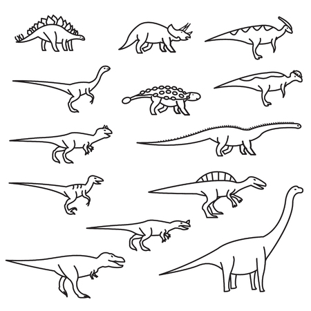 Dinosaurs thin line icon set. Vector outline icons set.