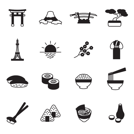 Japanese icon set. Japan icons. Vector.