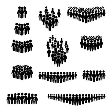 Jeu d'icônes de foule. Jeu d'icônes de personnes. Vecteur. Vecteurs