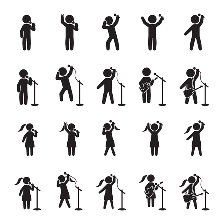Singers icon set. People icon set of music performers. Vector.