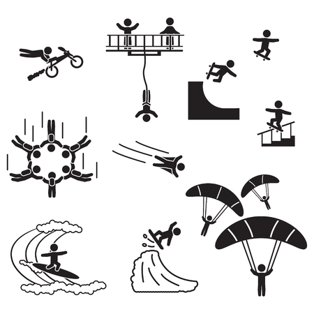 Extreme sports icon set. People performing extreme sports icons. Vector.