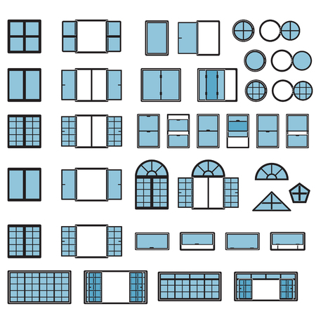 Windows icon set. Window types set. Vector. Ilustrace