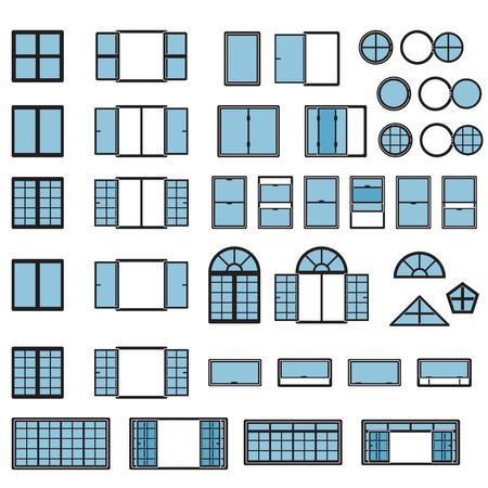 Windows-Symbolsatz. Fenstertypen eingestellt. Vektor.