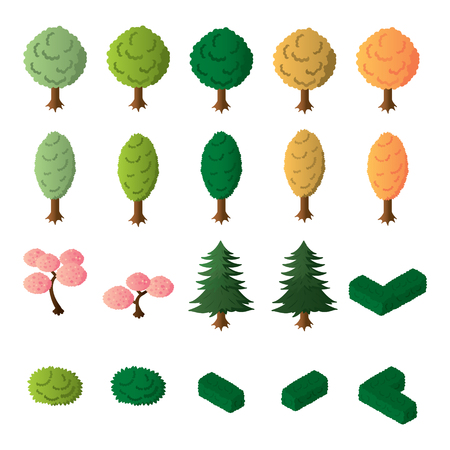Isometric trees and bushes vector set. Isometric trees icon set. Illusztráció