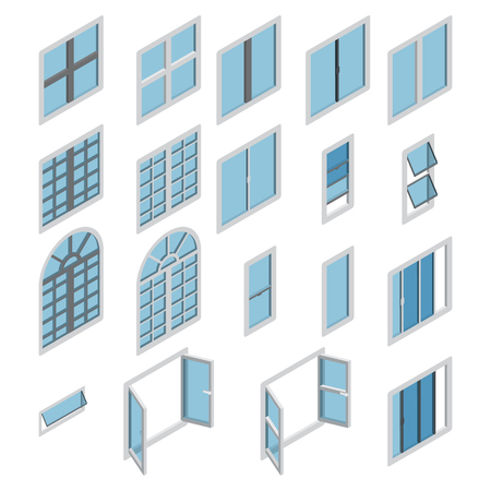 Jeu de vecteur d'icône isométrique Windows. Ensemble de fenêtres isométriques. Vecteur.