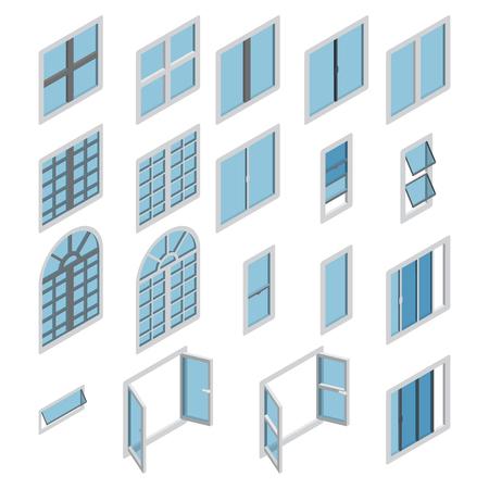 Windows isometrische pictogram vector set. Isometrische vensterreeks. Vector.
