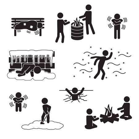People in winter, freezing, in cold icon set. Vector.
