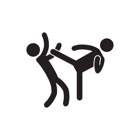 High kick, roundhouse kick icon. Vector.