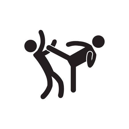 High kick, roundhouse kick icon. Vector. Illustration
