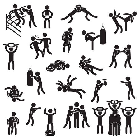 Fighting icon set. Boxing, mixed martial arts, wrestling and others. Vector.