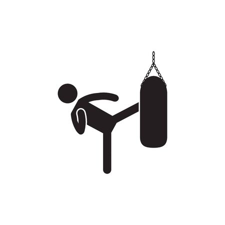 Kicking heavy bag icon. Vector.  イラスト・ベクター素材