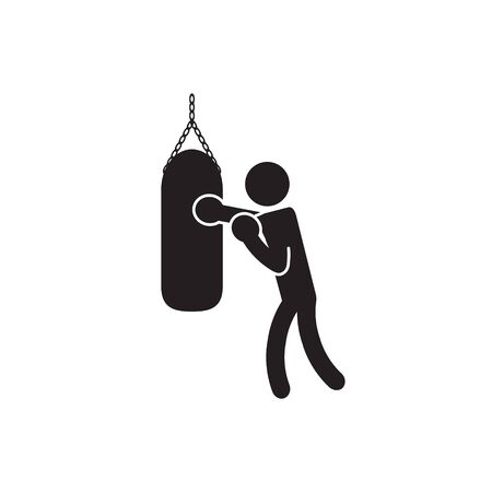 Boxing heavy bag icon. Vector. Vectores