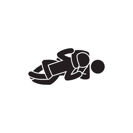Rear naked choke icon. Person choking icon. Vector. Banque d'images - 128095223