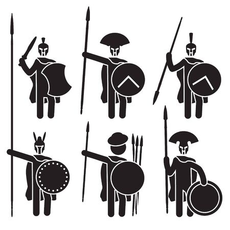 Greek warriors icon set. Spartans, Macedonian phalanx and others. Vector. Illustration