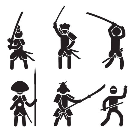 Japanese warrior icon set. Samurai and Ninja. Vector.