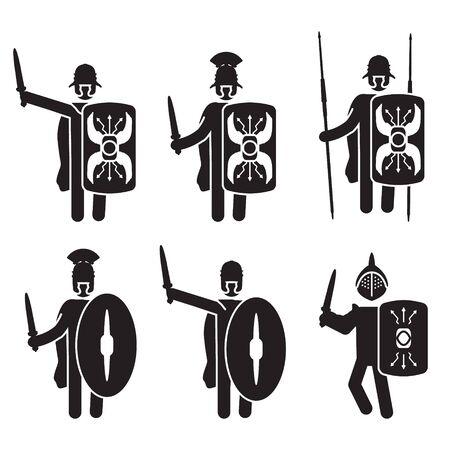Römische Krieger und Soldaten-Icon-Set. Legionär und Gladiator. Vektor. Vektorgrafik