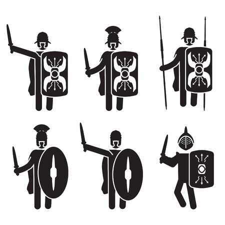 Roman warriors and soldiers icon set. Legionary and Gladiator. Vector.