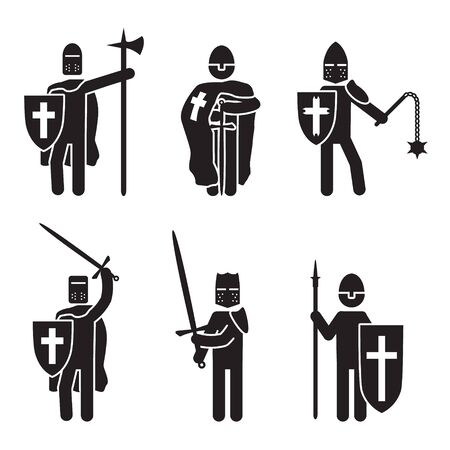 Knights icon set. Crusader knights set. Vector.
